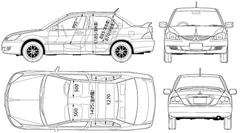 Mitsubishi Lancer 8 Evo габариты