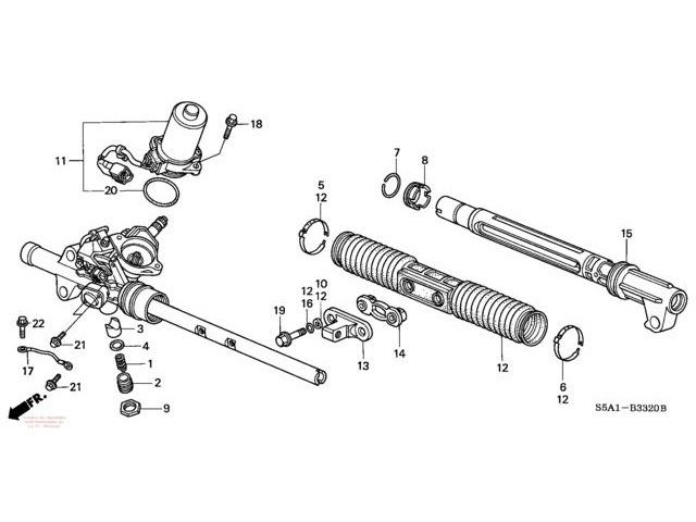 Схема устройство рулевой рейки Митсубиси Лансер