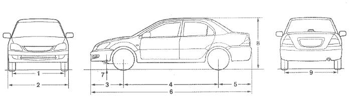 Размеры седана Лансер 9