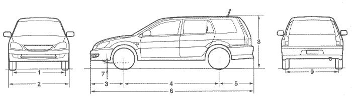 Размеры универсала Лансер 9